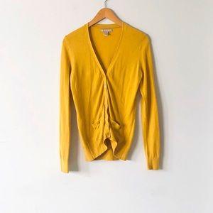 Banana Republic Yellow V-neck Button Down Cardigan